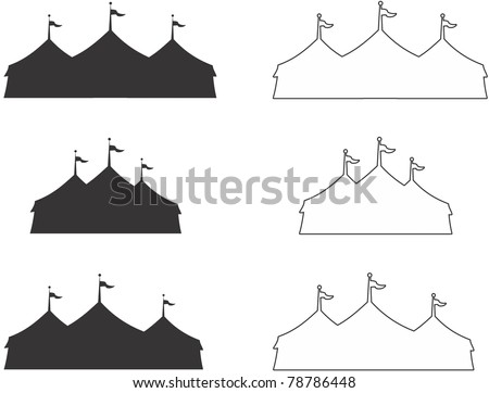 silhouette and outline of three ring circus tent.  Ideal for carnival signs - stock vector