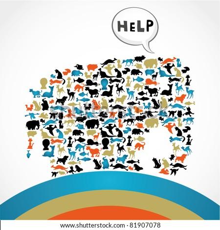 Silhouette animal help card - stock vector