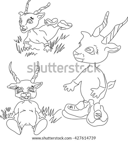 Silhouette antelope kind, baby antelope, baby goat coloring book of animals, sketches of animals antelopes and goats, freehand drawing, vector drawing black and white