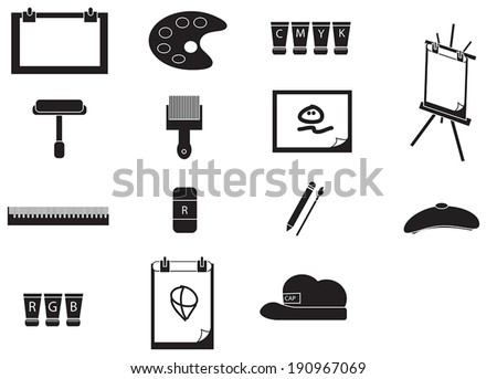 Silhouette artist painting tools icon set, create by vector - stock vector