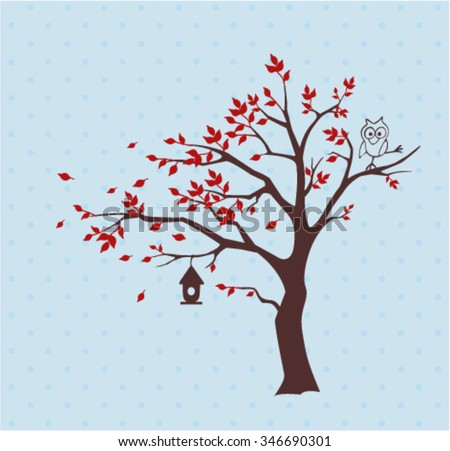 Silhouette autumn tree with  funny owl