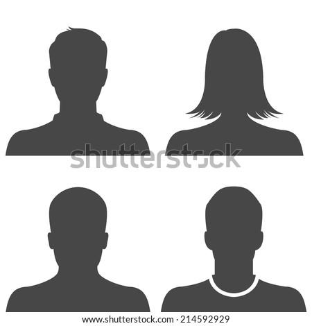 Silhouette avatar profile picture icon set - stock vector