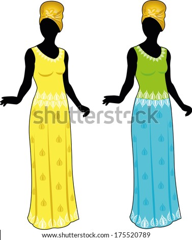 silhouette beautiful woman in authentic african ethnic clothes color variation isolated cartoon illustrations - stock vector