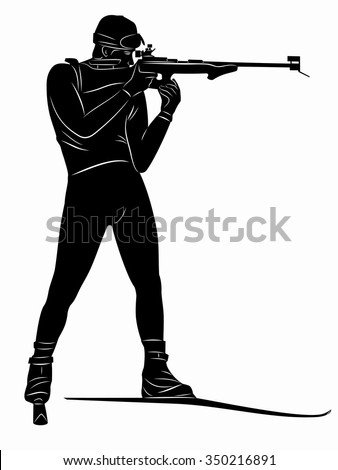 silhouette biathlon shooter, skier aim at the target.black and white sketch. white background