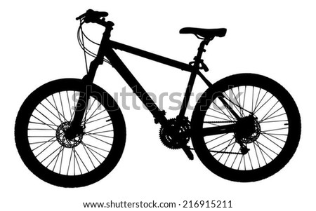 Silhouette bicycle isolated over white background. Vector image