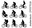 Silhouette bicycles. Vector - illustration. - stock photo