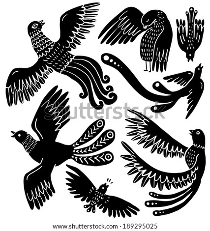 Silhouette bird set - stock vector