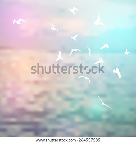 Silhouette birds, sky and sea blue background. Vector - stock vector