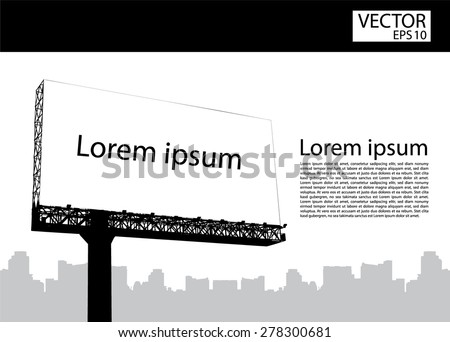 Silhouette Blank billboard, vector illustration - stock vector