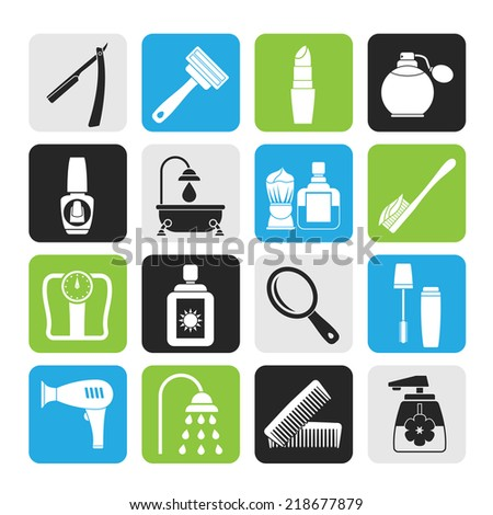 Silhouette body care and cosmetics icons - vector icon set - stock vector