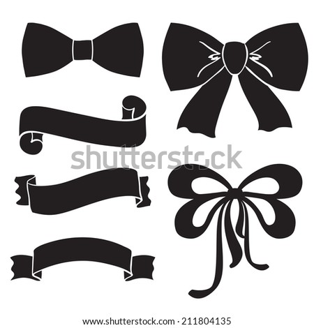 Silhouette bows, ribbons, parchment - stock vector