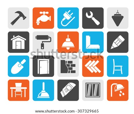 Silhouette Building and home renovation icons - vector icon set - stock vector