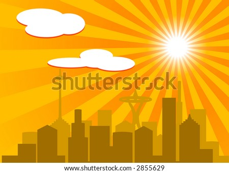 Silhouette buildings against hot sky (vector, illustration)