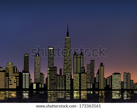 silhouette buildings, chicago city skyline, downtown, cityscape with light from windows and water reflection at evening(morning) skyline vector  - stock vector