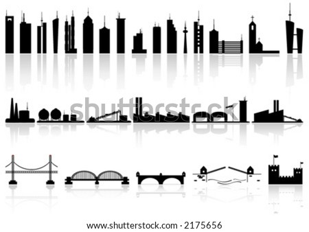 Silhouette buildings factorys and bridges of different kind - stock vector