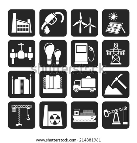 Silhouette Business and industry icons - vector icon set - stock vector