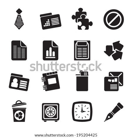 Silhouette Business and Office Icons- Vector Icon Set - stock vector