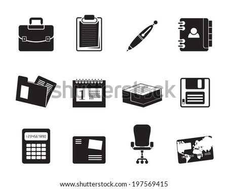 Silhouette Business and office icons - vector icon set - stock vector