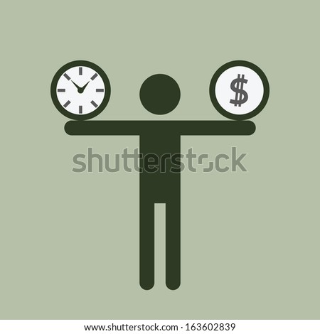 Silhouette business man carrying time and money on his shoulders. Business concept on time and money burden.  - stock vector