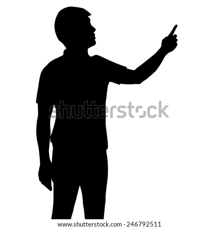 Silhouette business man with hand pointing, vector format  - stock vector