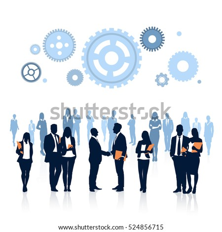 Silhouette Business People Team, Two Businessman Hand Shake, Boss Handshake Agreement Concept Flat Vector Illustration