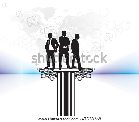 silhouette business people with arrow background,  vector illustration, No mesh in this Vector - stock vector