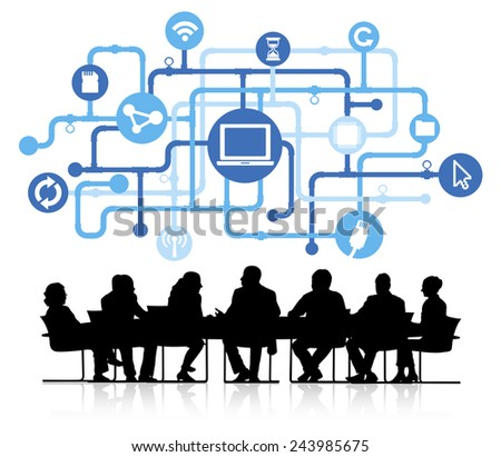 Silhouette Business People with Computer Network Concept  - stock vector