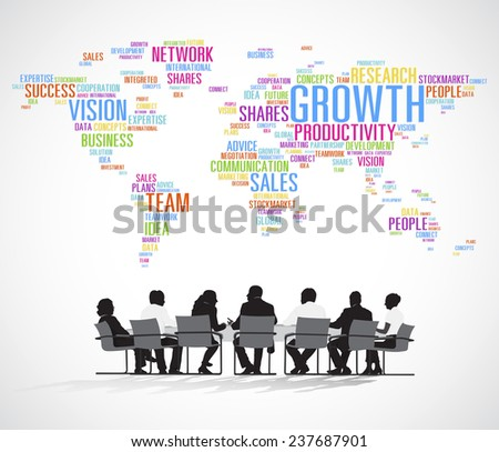 Silhouette Business People with Planning Concept - stock vector