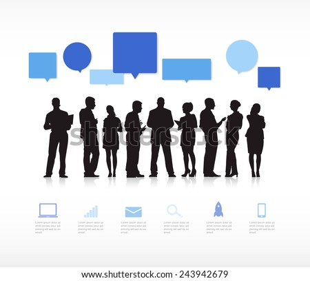 Silhouette Business People with Speech Bubbles - stock vector