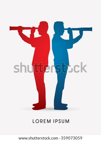 Silhouette businessman, looking telescope for planning marketing strategy graphic vector.