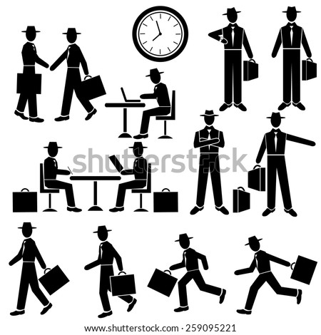 Silhouette Businessman - vector set. Walking and running , waiting for, at work. Man sit at the table. Business meeting.  Vector illustration - stock vector