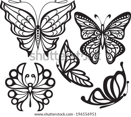Silhouette butterfly with open wings and delicate An image in profile. Black and white drawing. stylized symbol - stock vector