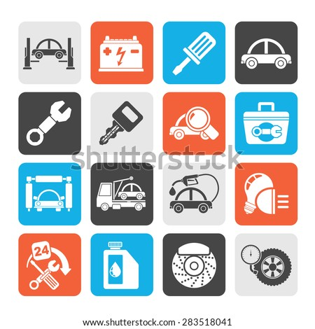 Silhouette Car service maintenance icons - vector icon set - stock vector