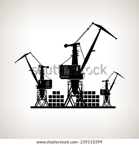 Silhouette cargo cranes and containers  on a light background,  black and white  vector illustration
