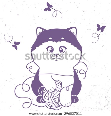 Silhouette cartoon kitten played with the ball thread. Stylish card with cute and beautiful cat. Vector illustration - stock vector