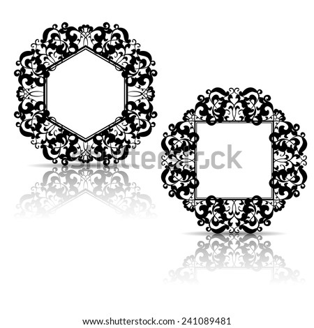 silhouette carved frame for picture or photo with shadow on white background - stock vector