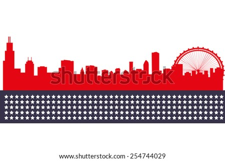 silhouette Chicago city - stock vector