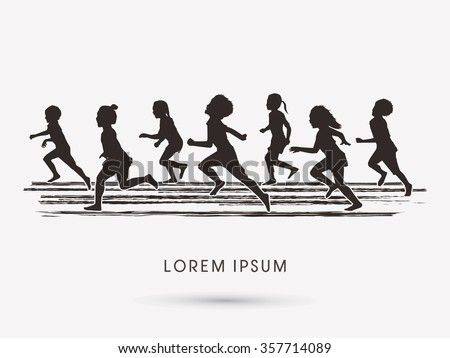 Silhouette, Children running graphic vector.