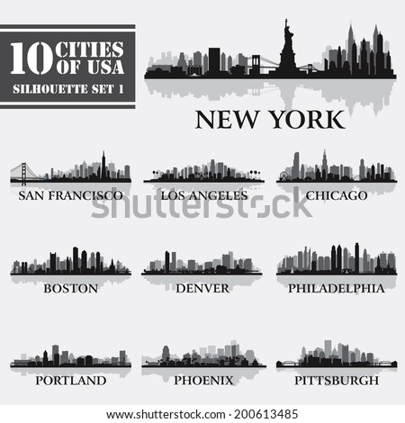 Silhouette city set of USA 1 on grey. Vector illustration - stock vector