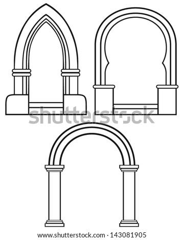 Silhouette classic arch - stock vector