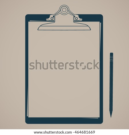 silhouette clipboard with paper and pencil / vector background