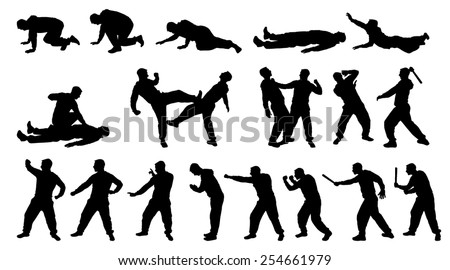 SILHOUETTE COMBAT MAN AND MARTIAL ARTS - stock vector