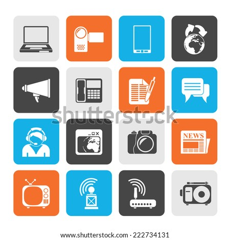 Silhouette Communication and Technology icons - Vector Icon Set - stock vector