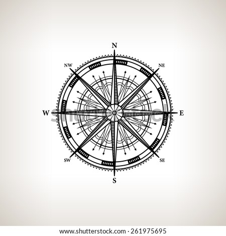 Silhouette compass rose, wind rose on a light background,  black and white  vector illustration - stock vector