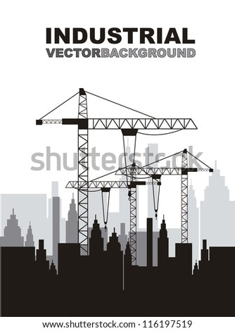 silhouette construction crane with buildings. vector illustration - stock vector