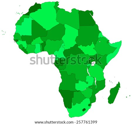 Silhouette contour border map of the Africa. All objects are independent and fully editable   - stock vector