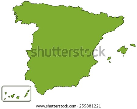 Silhouette contour map of the Spain. All objects are independent and fully editable.  - stock vector