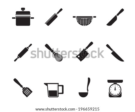 Silhouette Cooking equipment and tools icons - vector icon set - stock vector