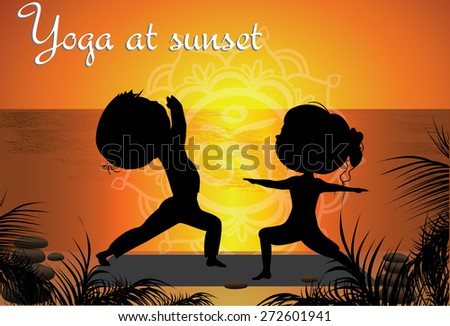 Silhouette Couple man and woman doing yoga on the beach at sunset, vector background - stock vector