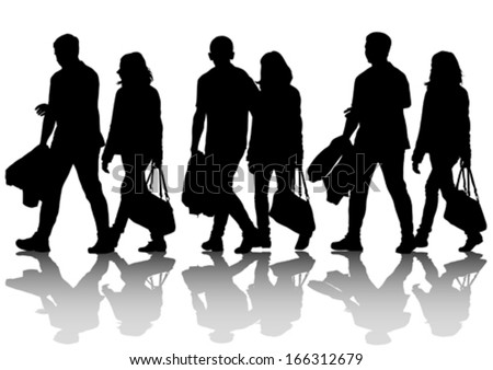 Silhouette couple of women and man.  - stock vector